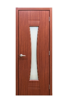 Euro 61 Sapeli Laminate Modern Interior Door w/ Frosted Glass
