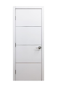 """Milan"" Modern Interior Door White Laminate w/Aluminum Strips"