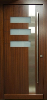 Model 009 Modern Wood Exterior Door W Frosted Glass