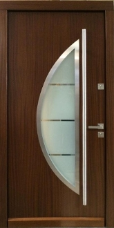 Model 010 Contemporary Wood Exterior Door W Frosted Glass