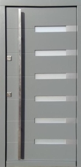 Model 014 Modern Wood Exterior Door Grey Finish W Frosted