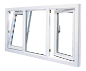 "W 96"" x H 36""  PVC Tilt and Turn Window (Triple Window)"