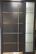 Model 020 Modern Grey Finish Wood Exterior Door w/ Side Panel