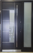 Model 025 Modern Grey Finish Wood Exterior Door w/ Side Panel