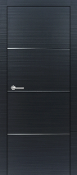 """Madrid"" Black Ebony Modern Interior Door w/Aluminum Strips"