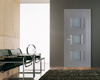 """Vetro Lux"" Grey Ash Interior Door with Glass"