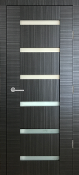 """Sorrento"" Black Ebony Modern Interior Door w/Glass"
