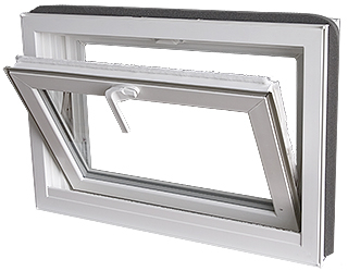 "W 34"" x H 18""   PVC Hopper / Tilt Window"