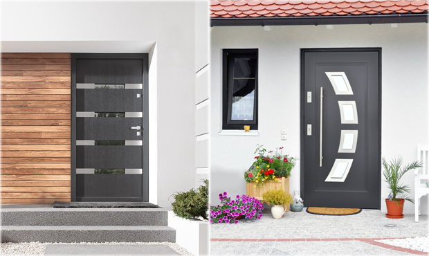 Steel 36 exterior doors in stock modern home luxury for Contemporary house doors