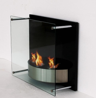 Noho modern ventless wall mount ethanol fireplace for Contemporary ventless gas fireplaces