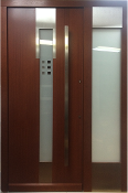 Model 052 Modern Mahogany Wood Exterior Door with Side Panel
