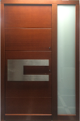 Model 053 Modern Sapele Wood Exterior Door with Side Panel