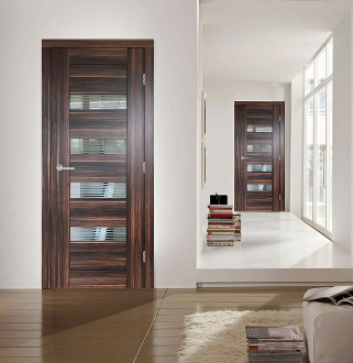 """Porto"" Modern Interior Door Jazz Wallnut w/Glass"