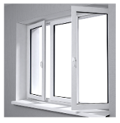 "W 84"" x H 36"" PVC Tilt and Turn Window (Triple Window)"