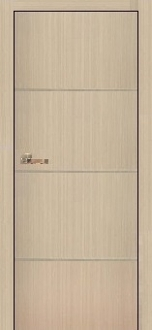 """Madrid"" Bleached Oak Modern Interior Door with Aluminum Strips"