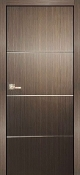 """Madrid"" Espresso Modern Interior Door with Aluminum Strips"
