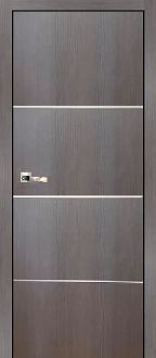 """Madrid"" Graphite Modern Interior Door with Aluminum Strips"