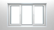 "W 84"" x H 36"" PVC Tilt and Turn Window (Three Section Window)"