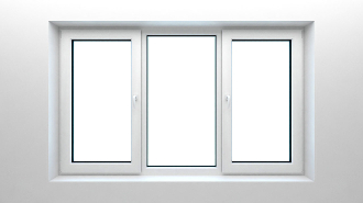 "W 96"" x H 36""  PVC Tilt and Turn Window (Three Section Window)"