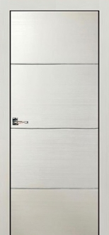 """Madrid"" White Modern Interior Door with Aluminum Strips"