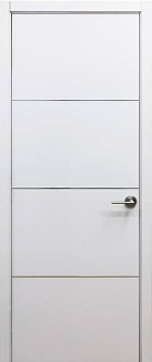 """Milan"" Modern Interior Door White Laminate with Aluminum Strips"