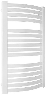 White Flat Rounded Hydronic Towel Radiator