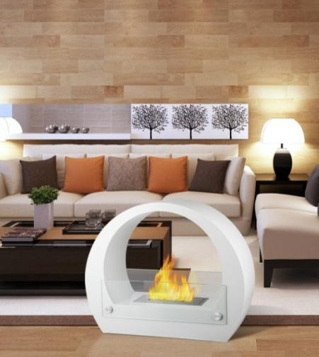 Retro White Contemporary Ventless Free Standing Ethanol Fireplaces